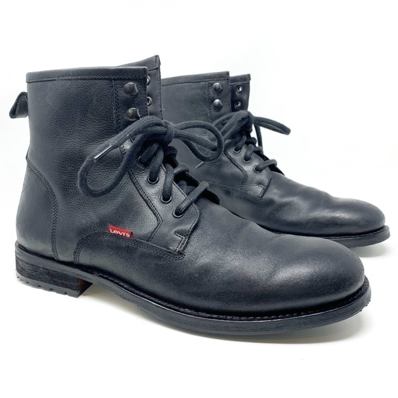 b3cca294f18 Levi's | Men's black leather combat boots size 10